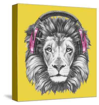 Portrait of Lion with Headphones. Hand Drawn Illustration.-victoria_novak-Stretched Canvas Print