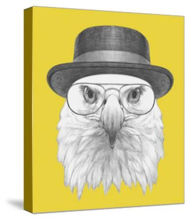 Portrait of Eagle with Hat and Glasses. Hand Drawn Illustration.-victoria_novak-Stretched Canvas Print