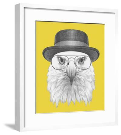 Portrait of Eagle with Hat and Glasses. Hand Drawn Illustration.-victoria_novak-Framed Art Print