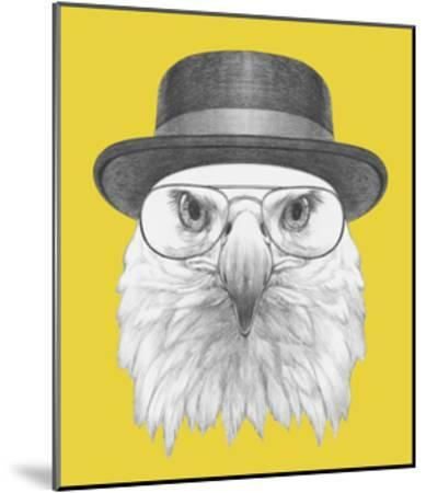 Portrait of Eagle with Hat and Glasses. Hand Drawn Illustration.-victoria_novak-Mounted Art Print
