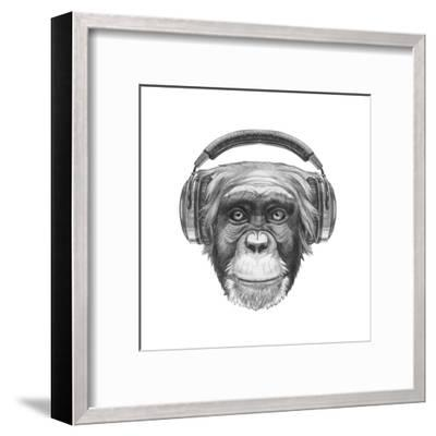 Portrait of Monkey with Headphones. Hand Drawn Illustration.-victoria_novak-Framed Art Print