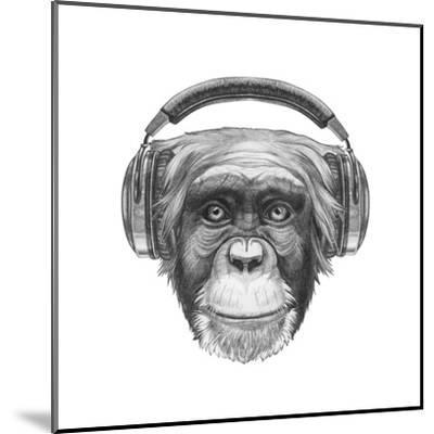Portrait of Monkey with Headphones. Hand Drawn Illustration.-victoria_novak-Mounted Art Print