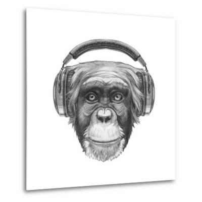 Portrait of Monkey with Headphones. Hand Drawn Illustration.-victoria_novak-Metal Print