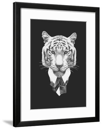 Portrait of Tiger in Suit. Hand Drawn Illustration.-victoria_novak-Framed Art Print
