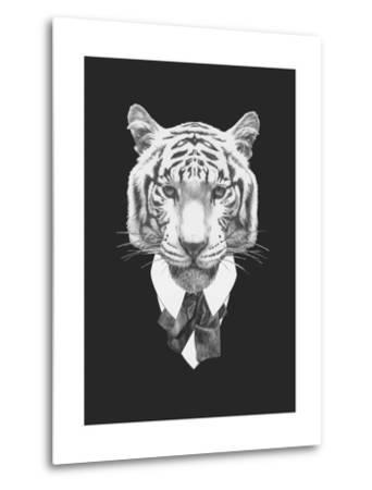 Portrait of Tiger in Suit. Hand Drawn Illustration.-victoria_novak-Metal Print