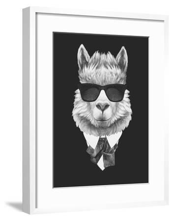Portrait of Lama in Suit. Hand Drawn Illustration.-victoria_novak-Framed Art Print