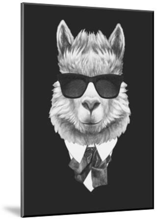 Portrait of Lama in Suit. Hand Drawn Illustration.-victoria_novak-Mounted Art Print