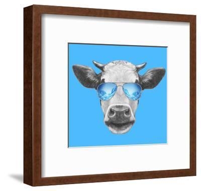 Portrait of Cow. Hand Drawn Illustration.-victoria_novak-Framed Art Print