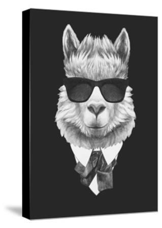Portrait of Lama in Suit. Hand Drawn Illustration.-victoria_novak-Stretched Canvas Print