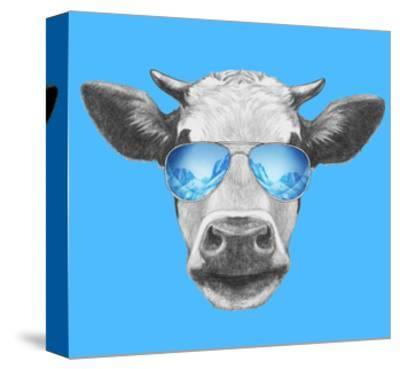 Portrait of Cow. Hand Drawn Illustration.-victoria_novak-Stretched Canvas Print