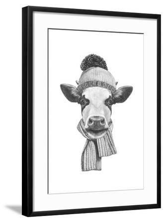 Portrait of Cow with Scarf and Hat. Hand Drawn Illustration.-victoria_novak-Framed Art Print