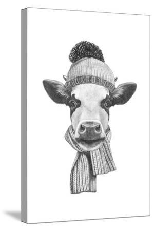 Portrait of Cow with Scarf and Hat. Hand Drawn Illustration.-victoria_novak-Stretched Canvas Print