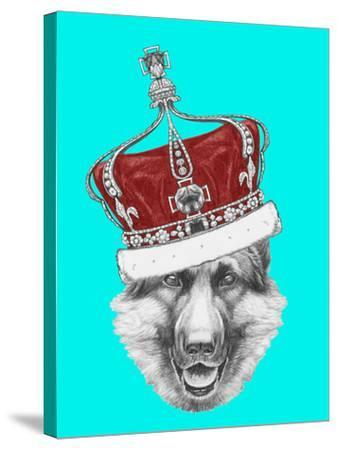 Portrait Of German Shepherd With Crown Hand Drawn Illustration Victoria Novak Stretched Canvas Print