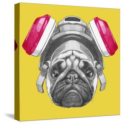 Portrait of Pug Dog with Gas Mask. Hand Drawn Illustration.-victoria_novak-Stretched Canvas Print