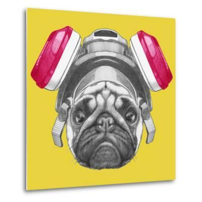 Portrait of Pug Dog with Gas Mask. Hand Drawn Illustration.-victoria_novak-Metal Print