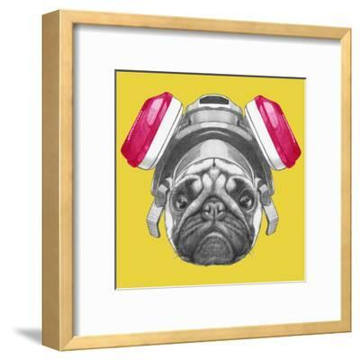 Portrait of Pug Dog with Gas Mask. Hand Drawn Illustration.-victoria_novak-Framed Art Print