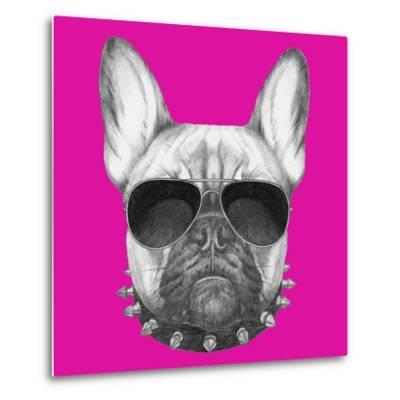 Original Drawing of French Bulldog with Collar and Sunglasses. Isolated on Colored Background.-victoria_novak-Metal Print