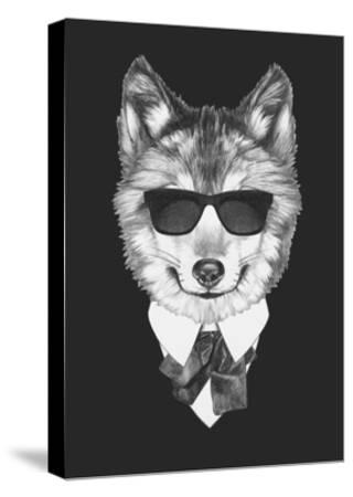 Portrait of Wolf in Suit. Hand Drawn Illustration.-victoria_novak-Stretched Canvas Print