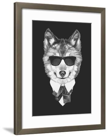 Portrait of Wolf in Suit. Hand Drawn Illustration.-victoria_novak-Framed Art Print