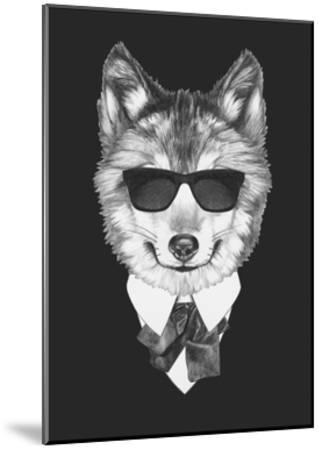 Portrait of Wolf in Suit. Hand Drawn Illustration.-victoria_novak-Mounted Art Print