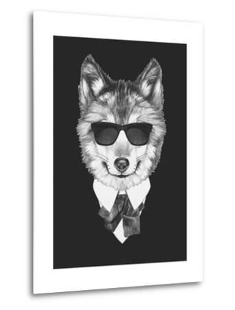Portrait of Wolf in Suit. Hand Drawn Illustration.-victoria_novak-Metal Print