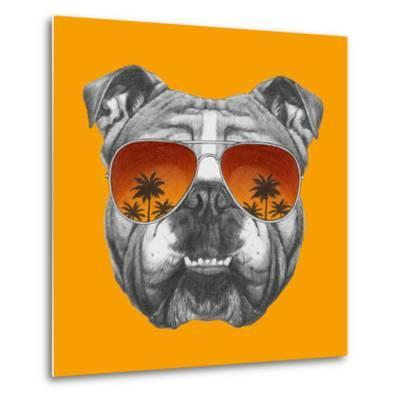 Original Drawing of English Bulldog with Mirror Sunglasses. Isolated on Colored Background.-victoria_novak-Metal Print