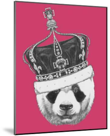 Original Drawing of Panda with Crown. Isolated on Colored Background-victoria_novak-Mounted Art Print