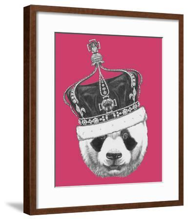 Original Drawing of Panda with Crown. Isolated on Colored Background-victoria_novak-Framed Art Print