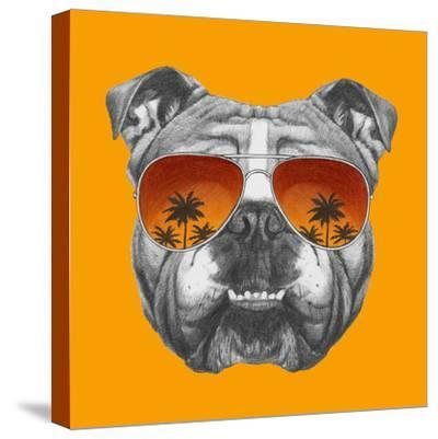 Original Drawing of English Bulldog with Mirror Sunglasses. Isolated on Colored Background.-victoria_novak-Stretched Canvas Print