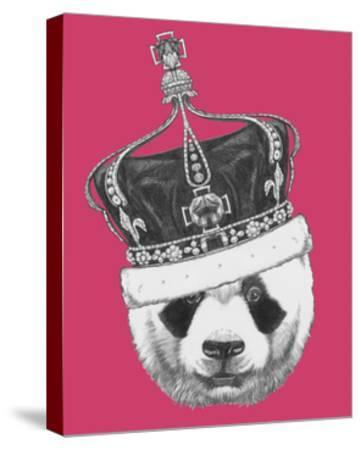 Original Drawing of Panda with Crown. Isolated on Colored Background-victoria_novak-Stretched Canvas Print