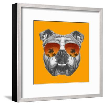 Original Drawing of English Bulldog with Mirror Sunglasses. Isolated on Colored Background.-victoria_novak-Framed Art Print