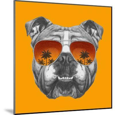 Original Drawing of English Bulldog with Mirror Sunglasses. Isolated on Colored Background.-victoria_novak-Mounted Art Print