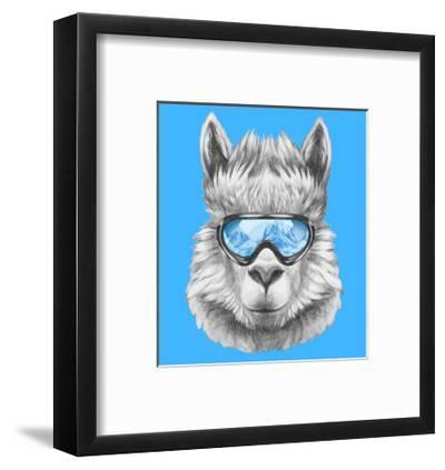 Portrait of Lama with Ski Goggles. Hand Drawn Illustration.-victoria_novak-Framed Art Print