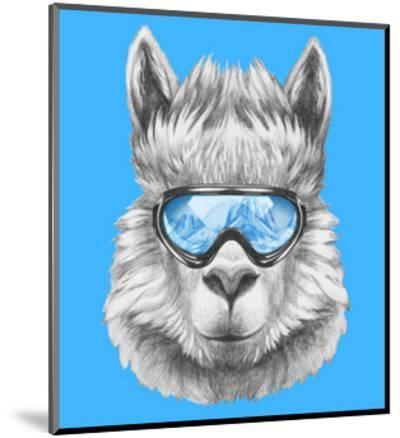 Portrait of Lama with Ski Goggles. Hand Drawn Illustration.-victoria_novak-Mounted Art Print