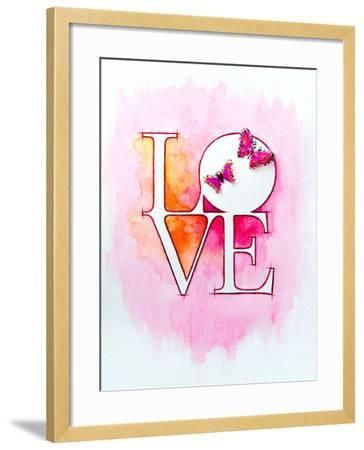 Word LOVE over Abstract Watercolor Painting and Two Butterflies-Alex Tihonov-Framed Art Print