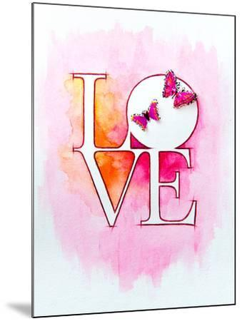 Word LOVE over Abstract Watercolor Painting and Two Butterflies-Alex Tihonov-Mounted Art Print