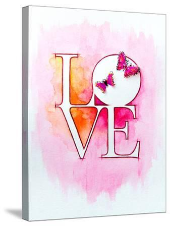 Word LOVE over Abstract Watercolor Painting and Two Butterflies-Alex Tihonov-Stretched Canvas Print