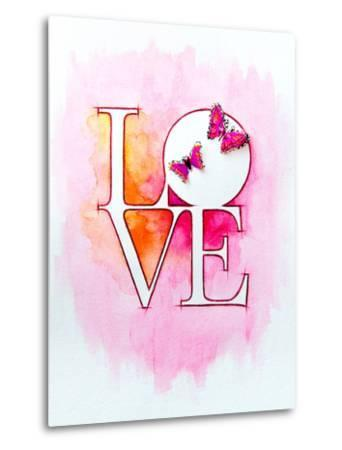 Word LOVE over Abstract Watercolor Painting and Two Butterflies-Alex Tihonov-Metal Print