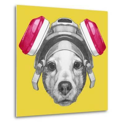Portrait of Jack Russell Terrier Dog with Gas Mask. Hand Drawn Illustration.-victoria_novak-Metal Print