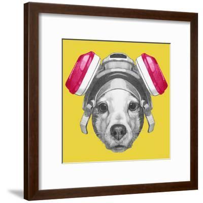 Portrait of Jack Russell Terrier Dog with Gas Mask. Hand Drawn Illustration.-victoria_novak-Framed Art Print