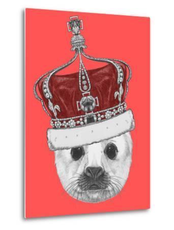 Portrait of Baby Fur Seal with Crown. Hand Drawn Illustration.-victoria_novak-Metal Print
