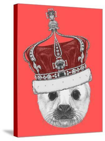 Portrait of Baby Fur Seal with Crown. Hand Drawn Illustration.-victoria_novak-Stretched Canvas Print