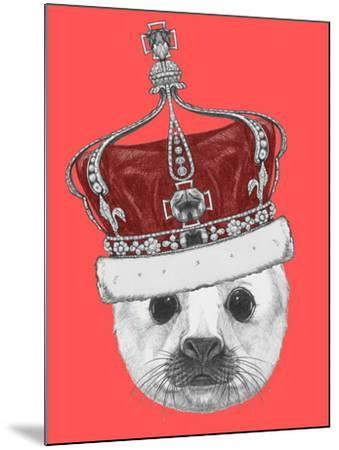 Portrait of Baby Fur Seal with Crown. Hand Drawn Illustration.-victoria_novak-Mounted Art Print
