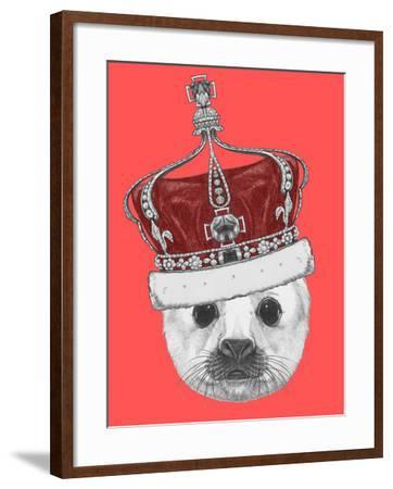 Portrait of Baby Fur Seal with Crown. Hand Drawn Illustration.-victoria_novak-Framed Art Print