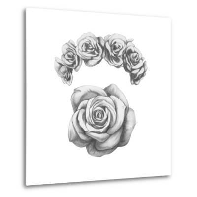 Original Drawing of Ram with Roses. Isolated on White Background-victoria_novak-Metal Print