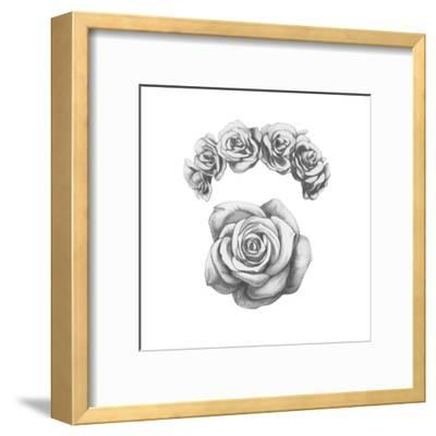 Original Drawing of Ram with Roses. Isolated on White Background-victoria_novak-Framed Art Print