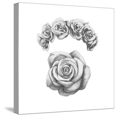 Original Drawing of Ram with Roses. Isolated on White Background-victoria_novak-Stretched Canvas Print