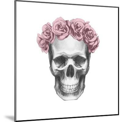 Original Drawing of Ram with Roses. Isolated on White Background-victoria_novak-Mounted Art Print