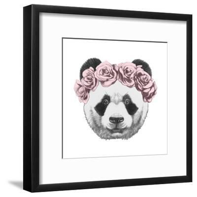 Original Drawing of Panda with Roses. Isolated on White Background-victoria_novak-Framed Art Print