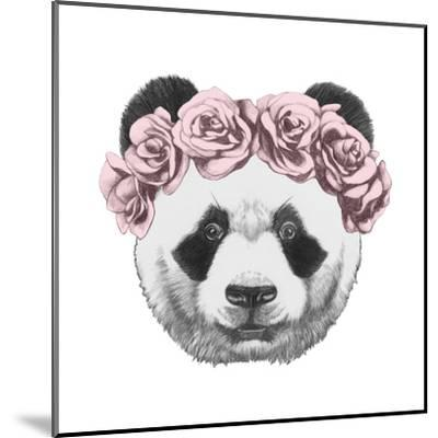 Original Drawing of Panda with Roses. Isolated on White Background-victoria_novak-Mounted Art Print